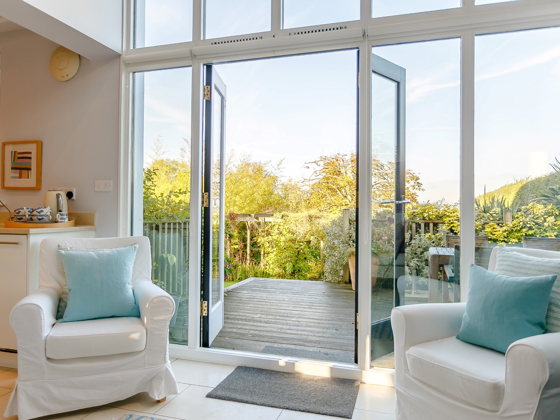 Patio doors lead out to the garden