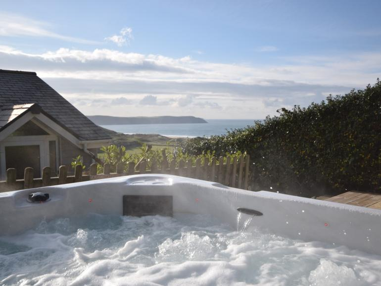 Private hot tub with stunning views