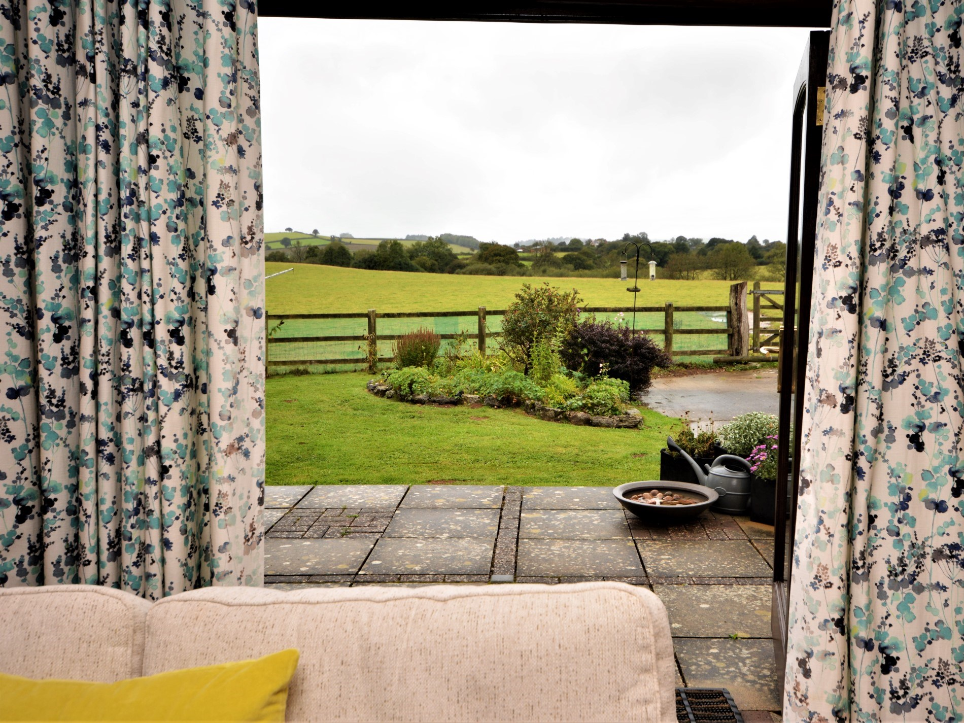 French doors to the garden with views of the countryside