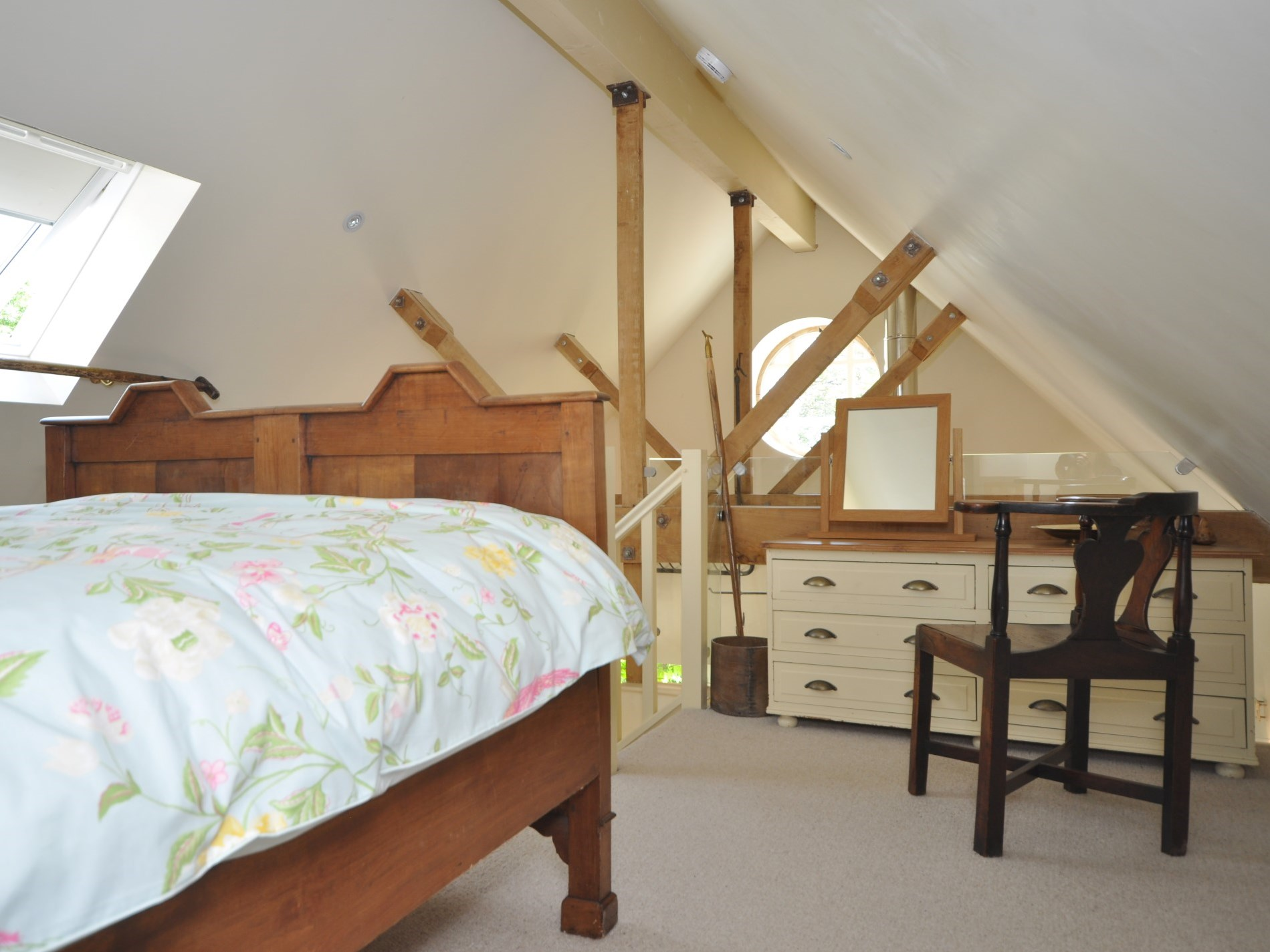 The stunning oak beams forming part of the interior