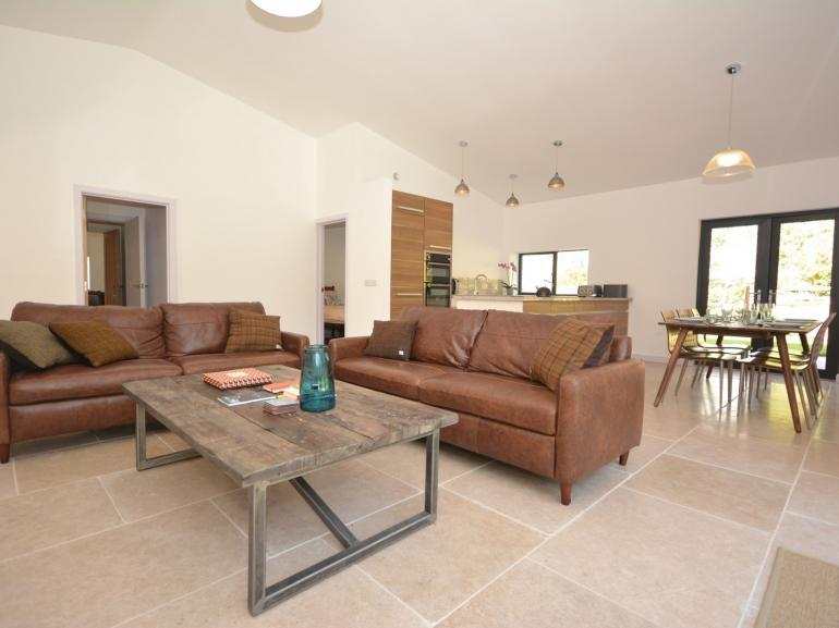 A contemporary open-plan lounge and dining area with a quality finish