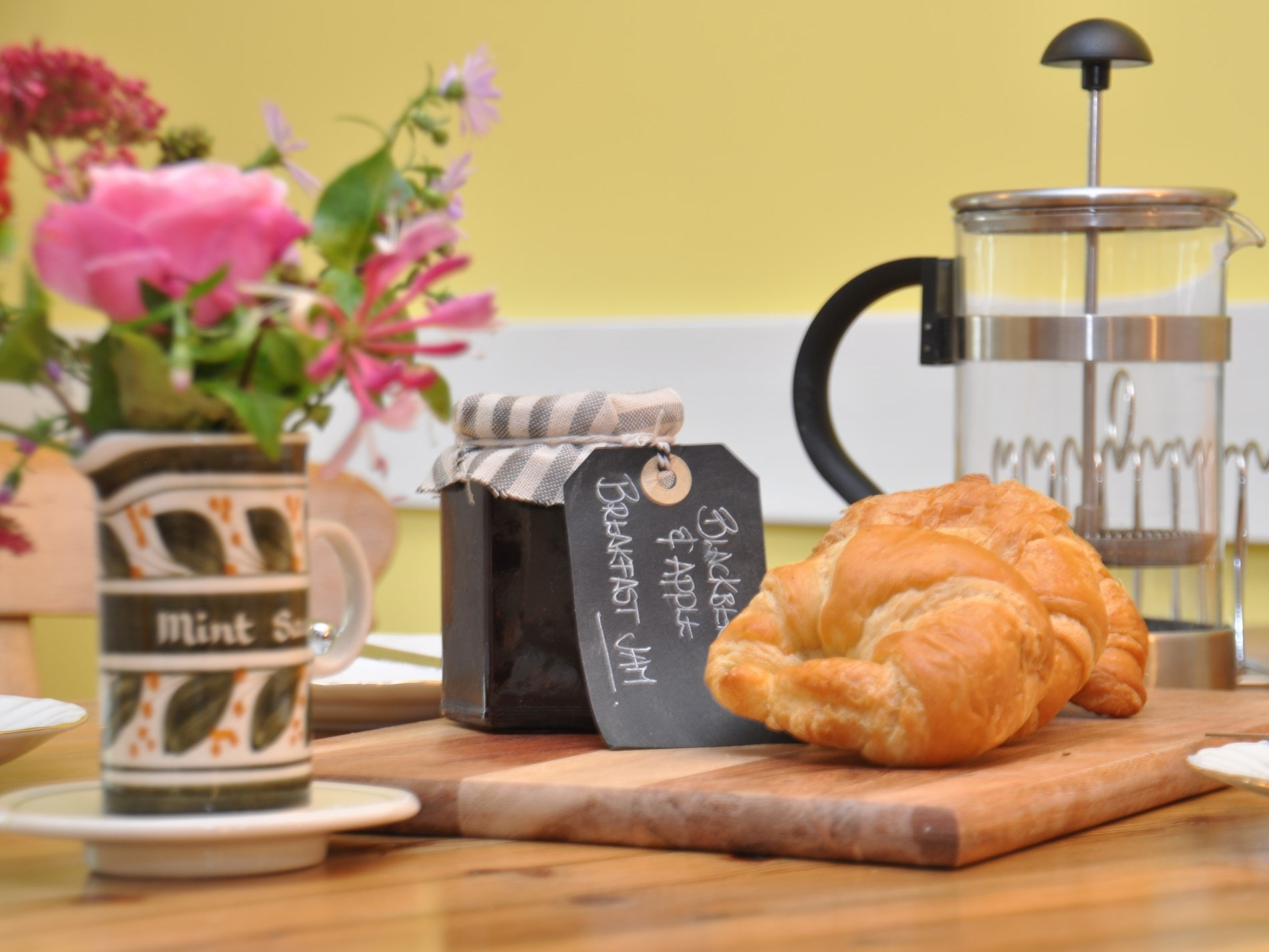 Wake up to coffee and croissants