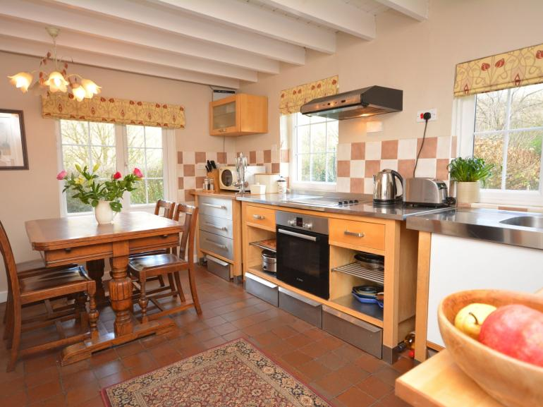 Country kitchen with views of the gardens