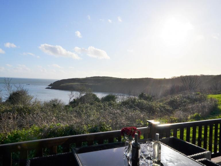 South West Coast Path and St Marys Beach viewed from the terrace