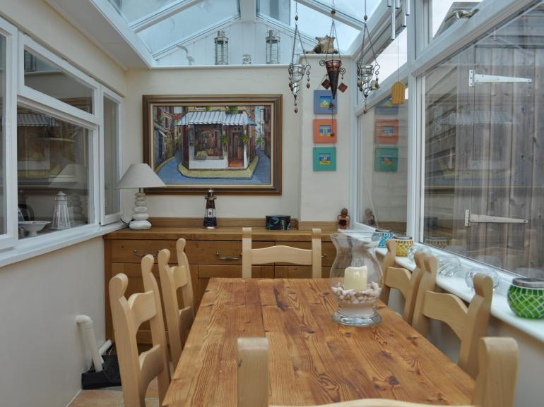 Dining area in the sunny conservatory