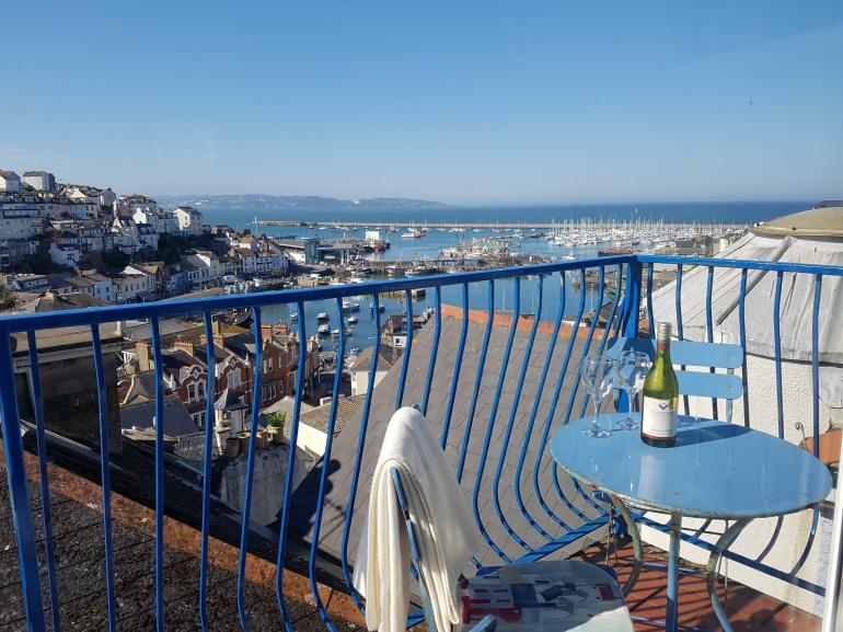 Wonderful views from the balcony, across the harbour and out towards the English Riviera