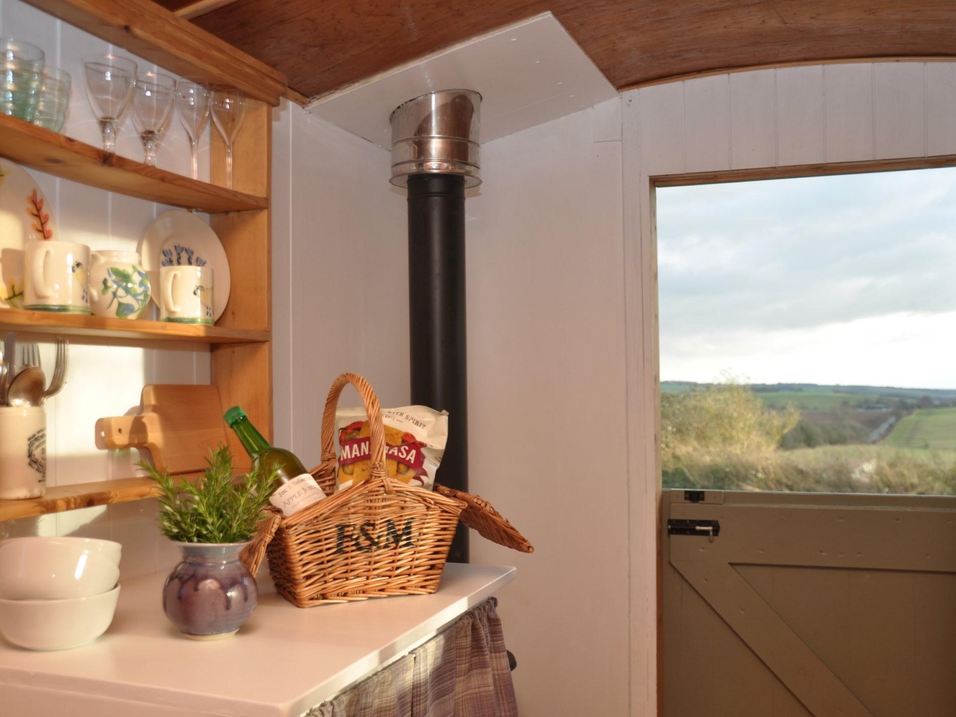 Enjoy the stunning views from the restored shepherd's hut