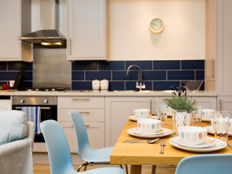 Enjoy leisurely meal at this seaside family home