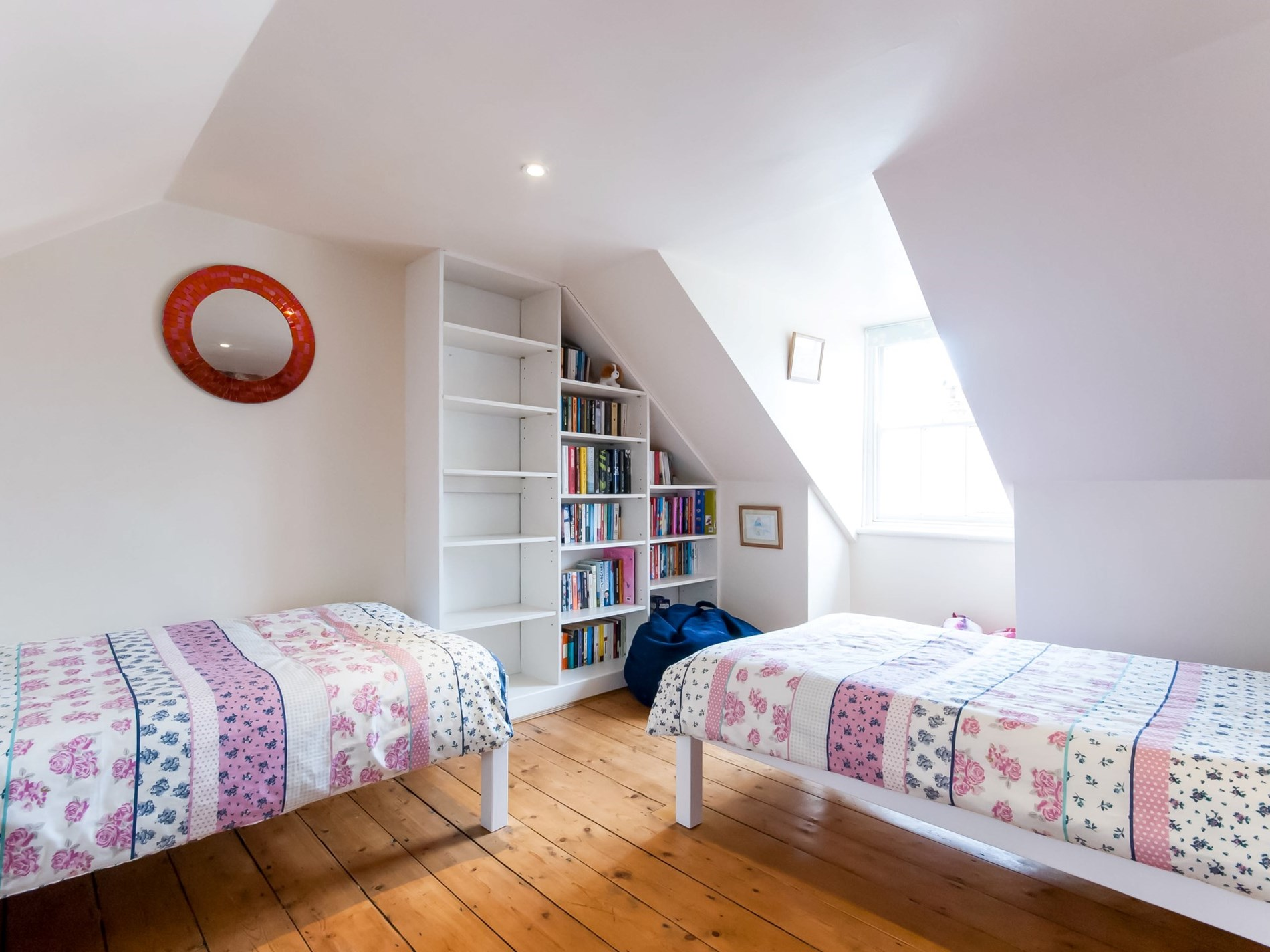 Twin bedroom located in the attic room