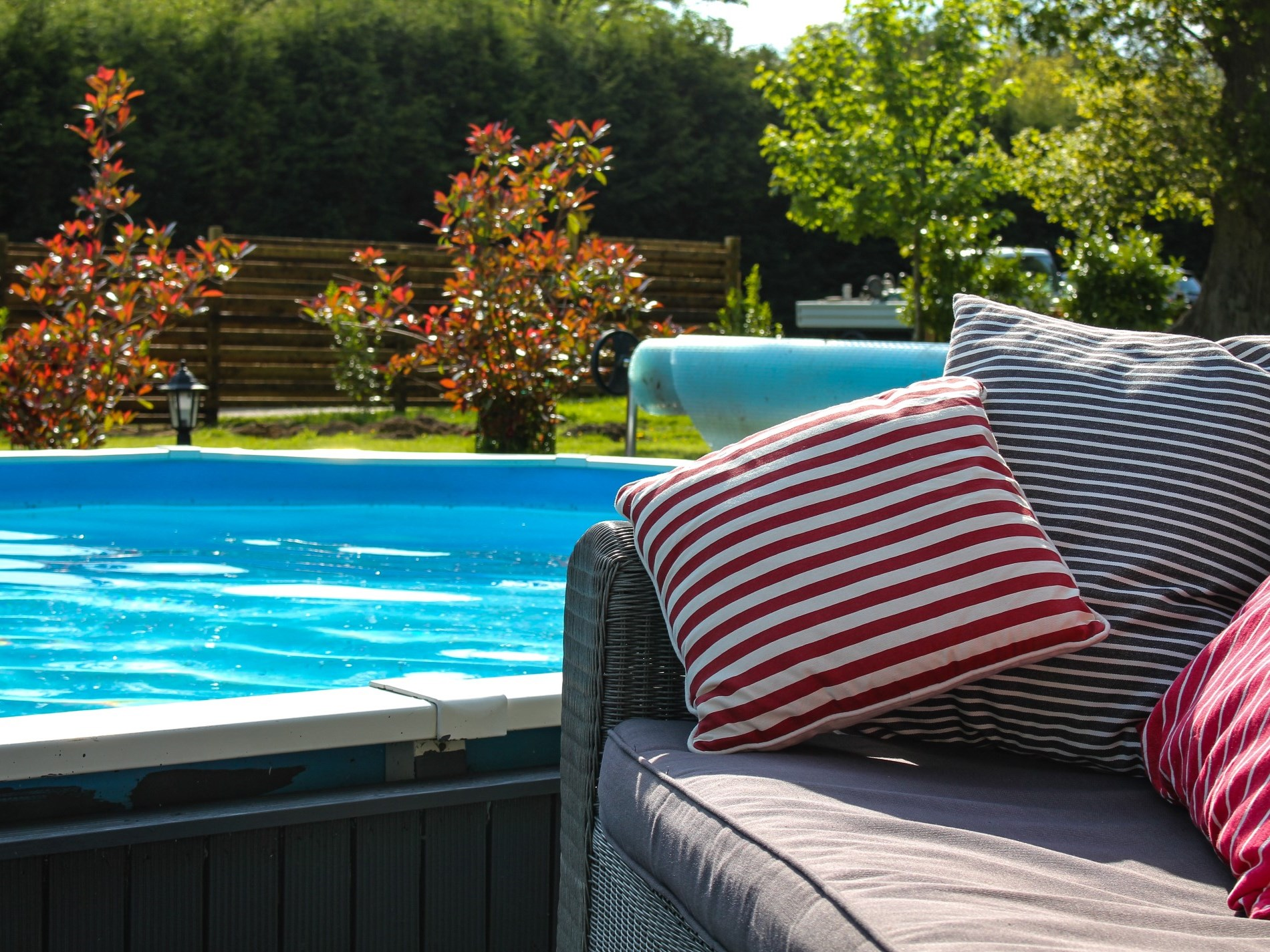 Take a dip in the pool or simply relax beside it