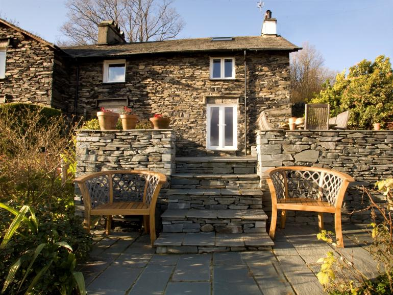 Split level terrace at the back of the cottage which looks out to the fantastic view