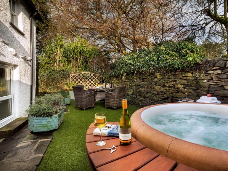 Enjoy a soak in the sunken hot tub