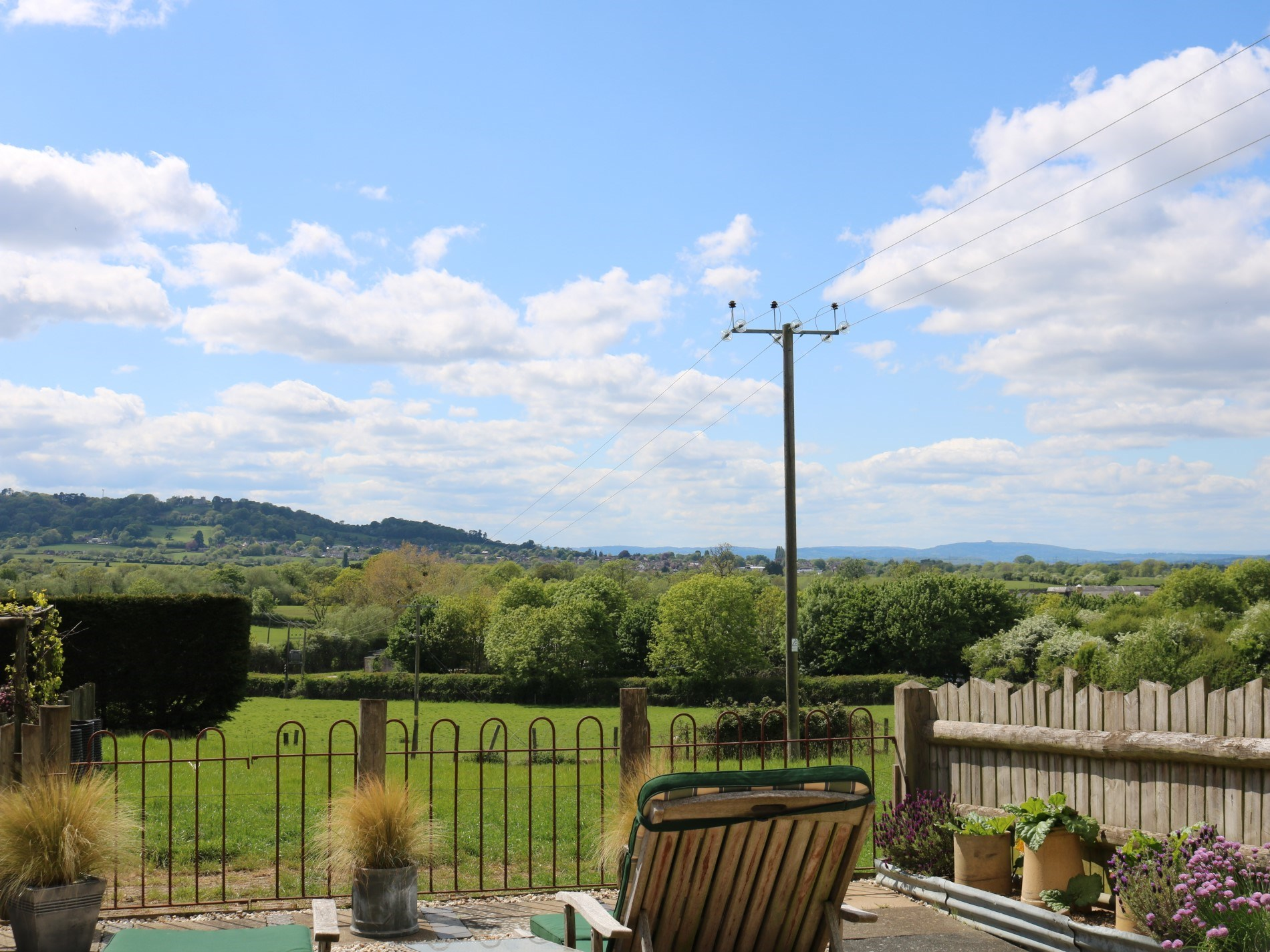 Wonderful views fromthe south facing enclosed garden