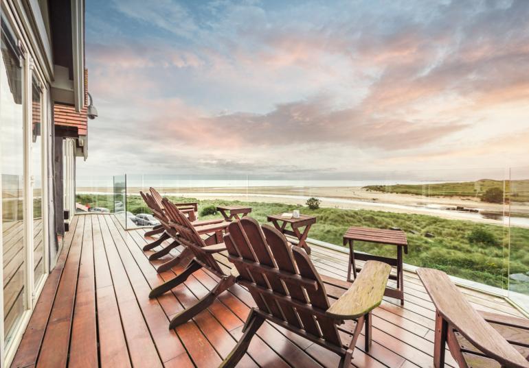 South facing balcony with sea views