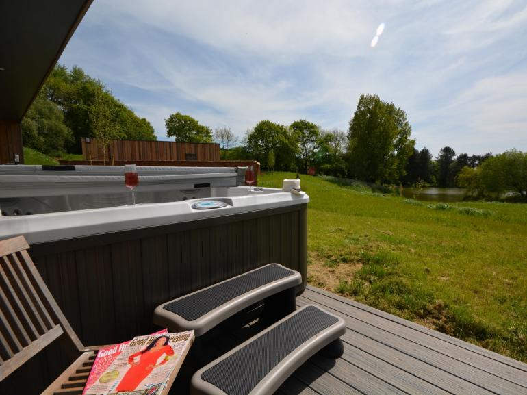 Enjoy the views from the bubbling hot tub