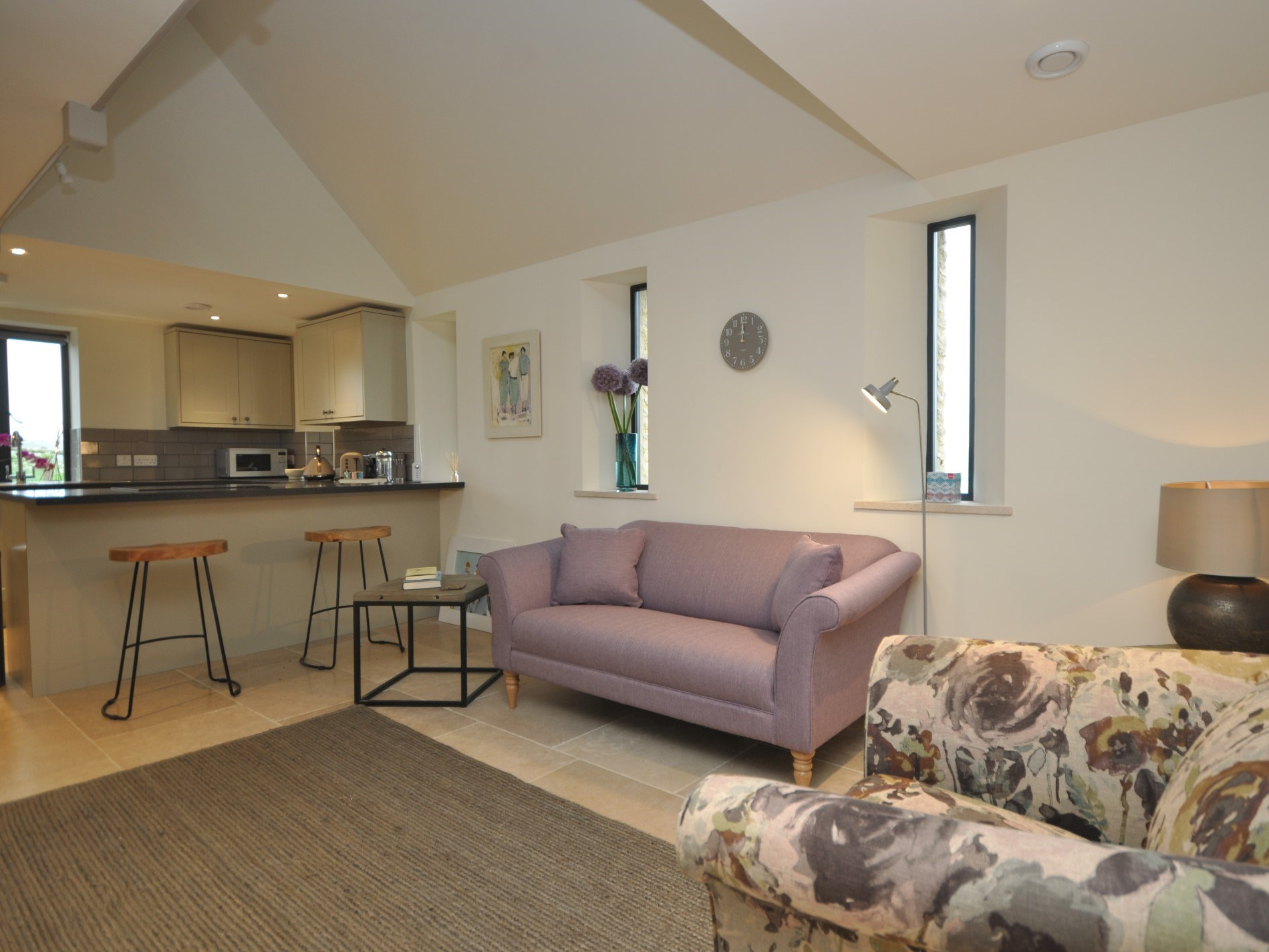 Stylish open-plan lounge area
