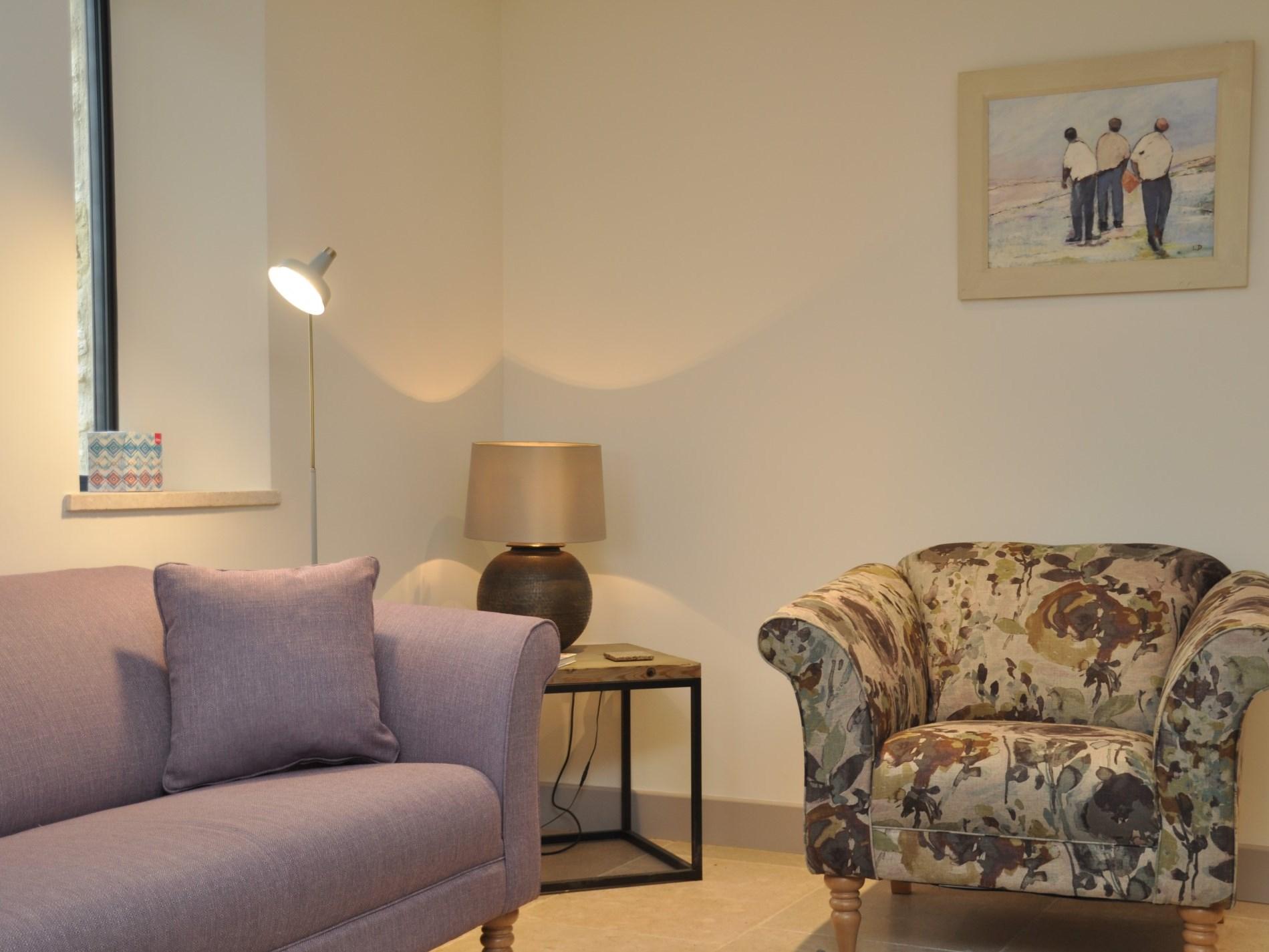 Tasteful soft furnishings and artwork