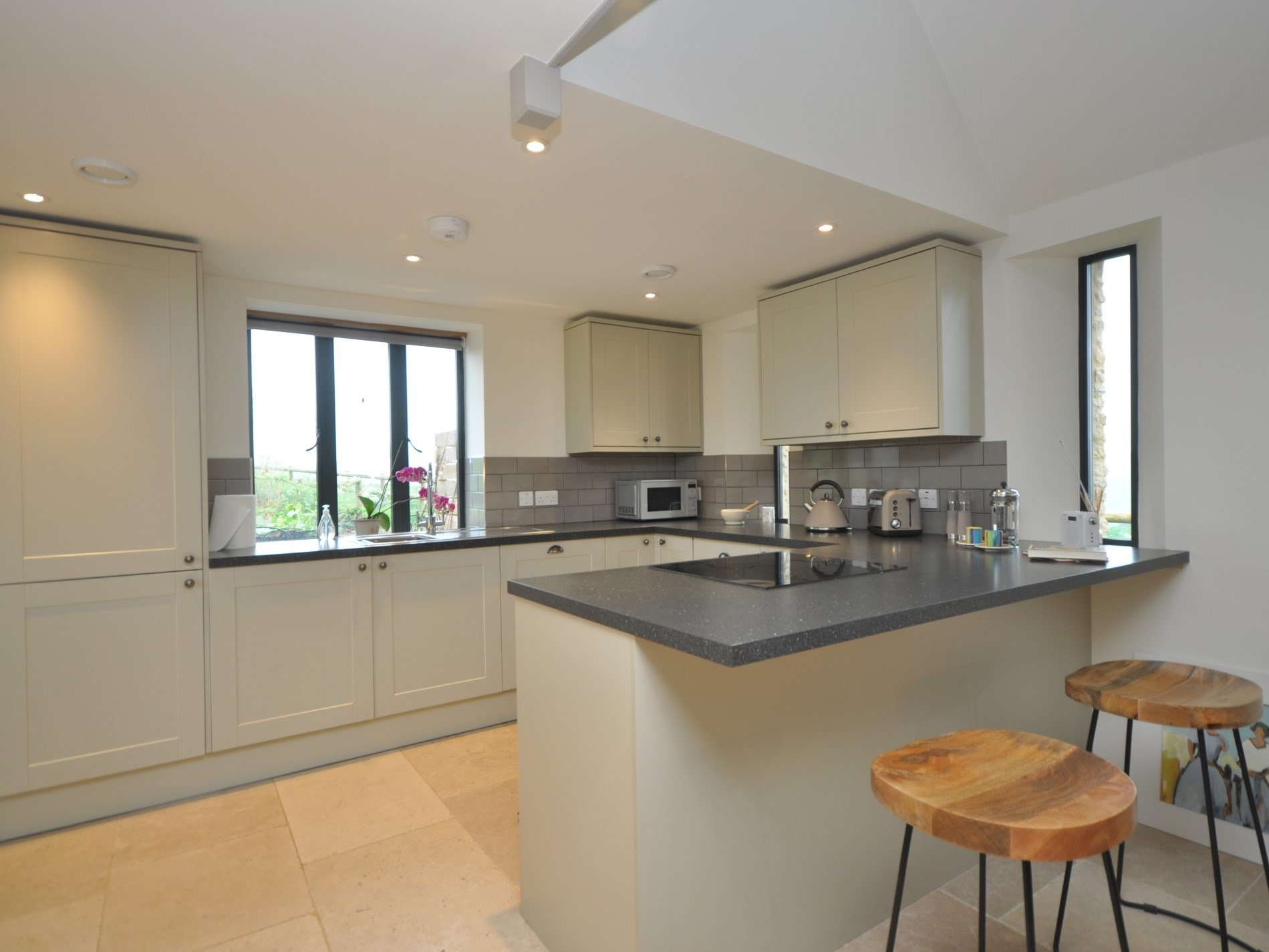 A contemporary kitchen with great views