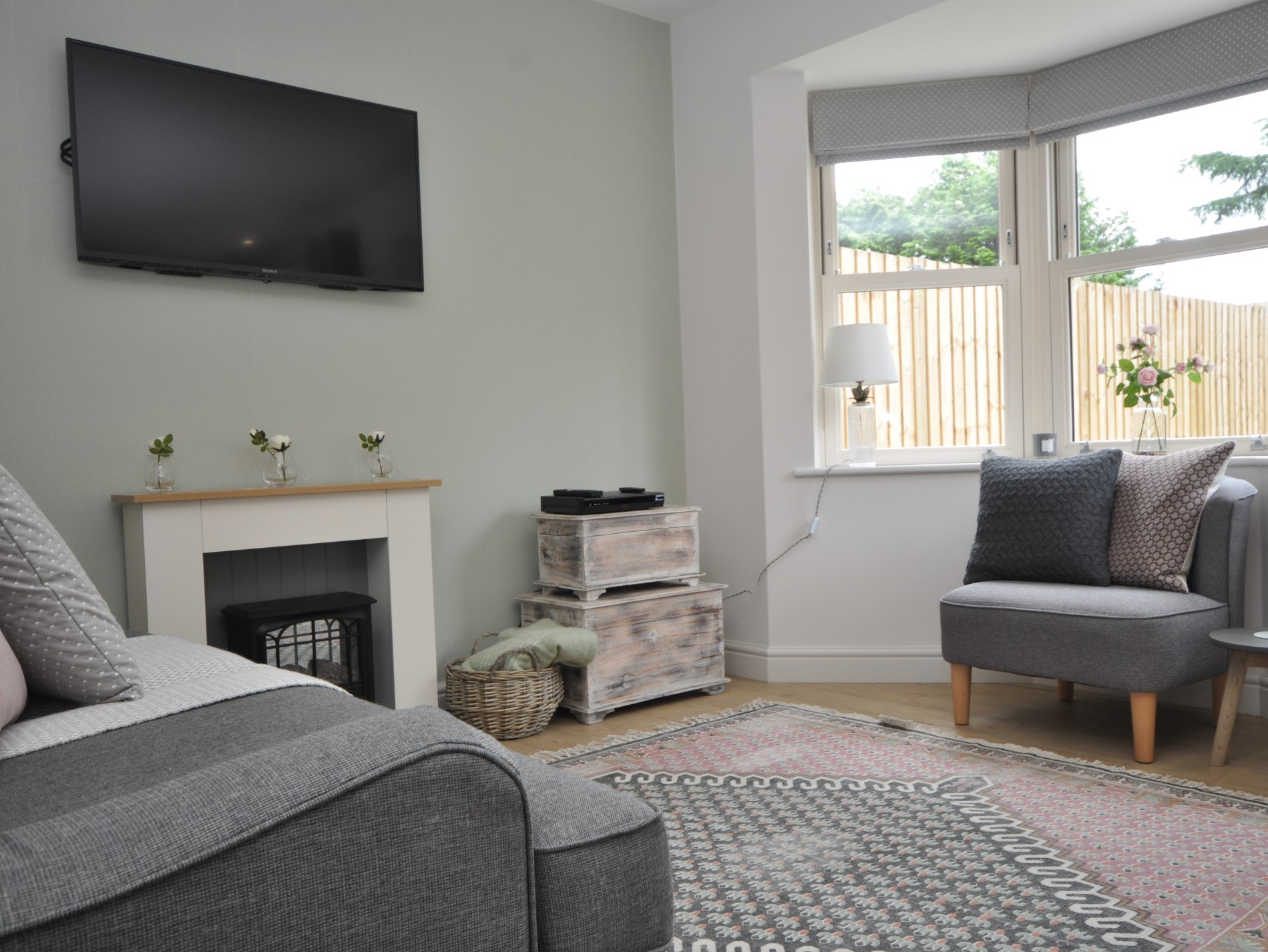 Beautifully furnished with soft colours and fabrics