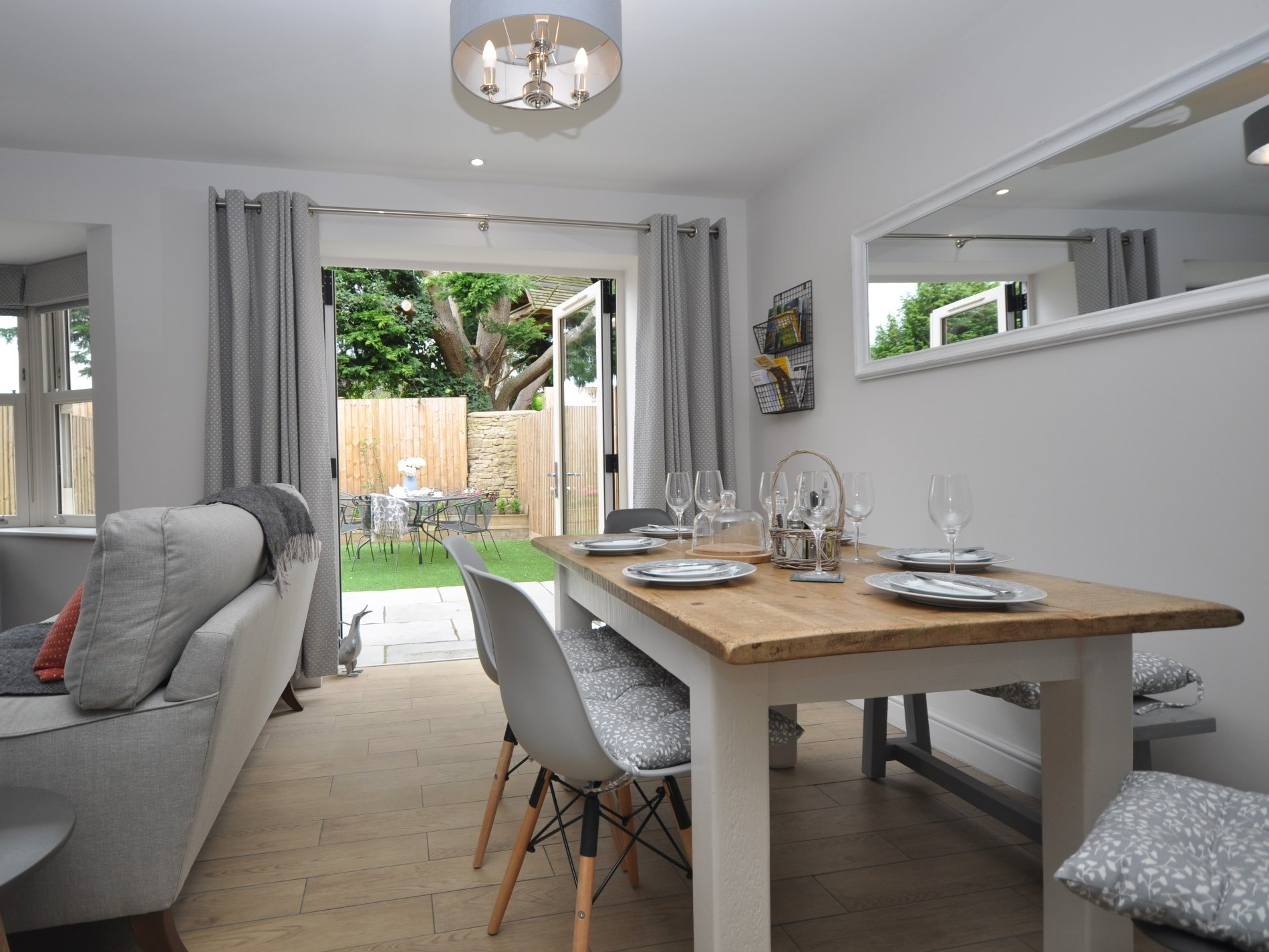 A dining area with access to the gardens