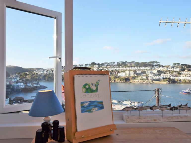 Sweeping views over the River Fowey from the master bedroom