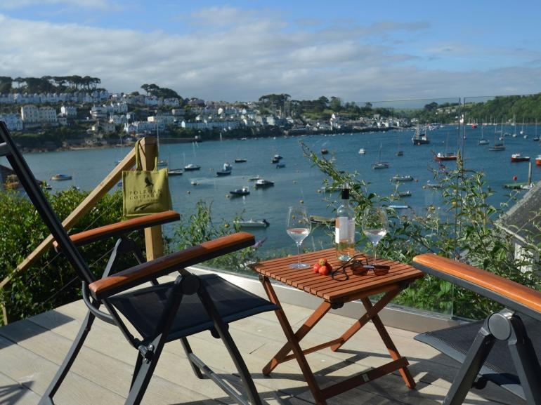 Enjoy a glass of wine and take in the beautiful views of River Fowey
