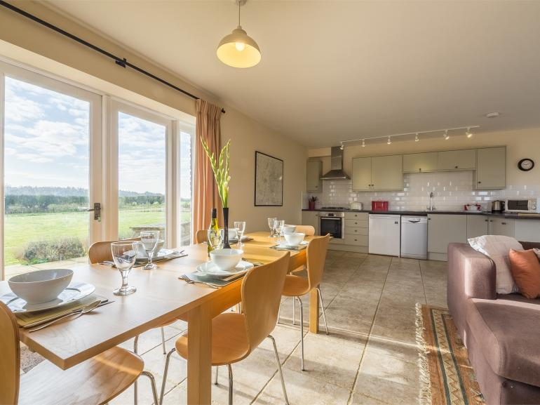 Enjoy countryside views from the dining area