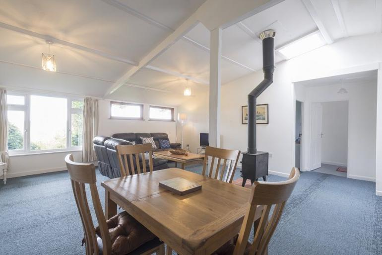 Fantastic open-plan living space with feature woodburner
