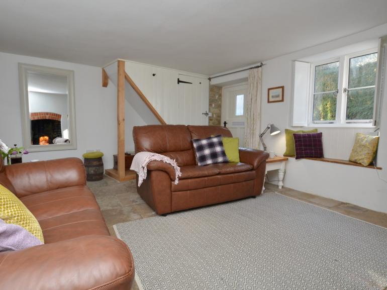 Stylish lounge with pretty window seat