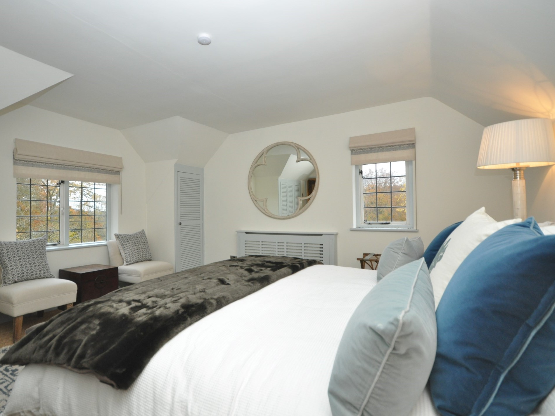 This beautiful bedroom enjoys a dual aspect