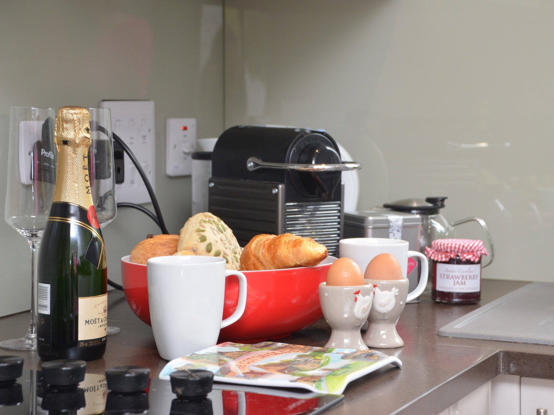 Enjoying a luxurious breakfast