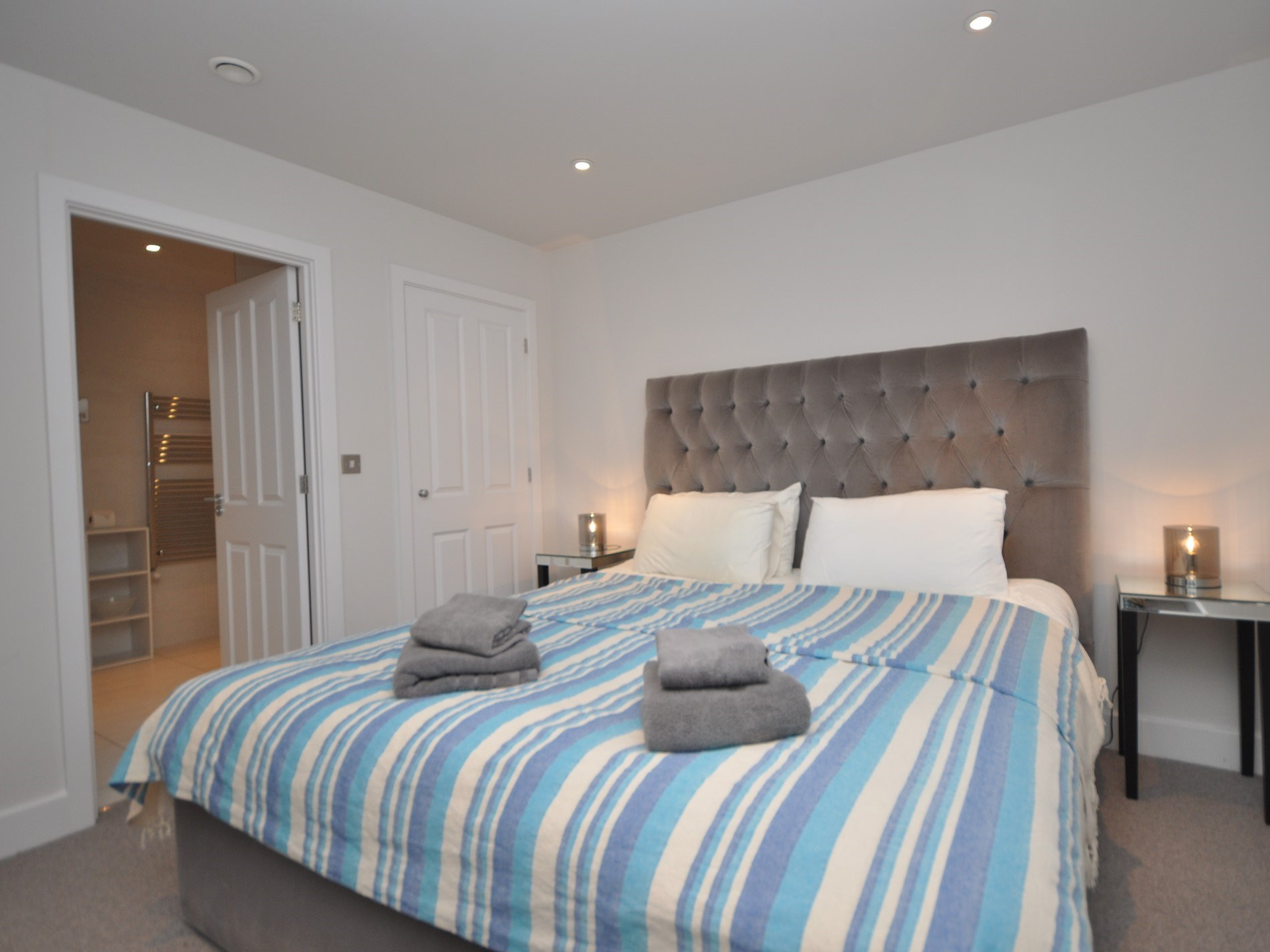 A cosy king-size on the first floor with en-suite