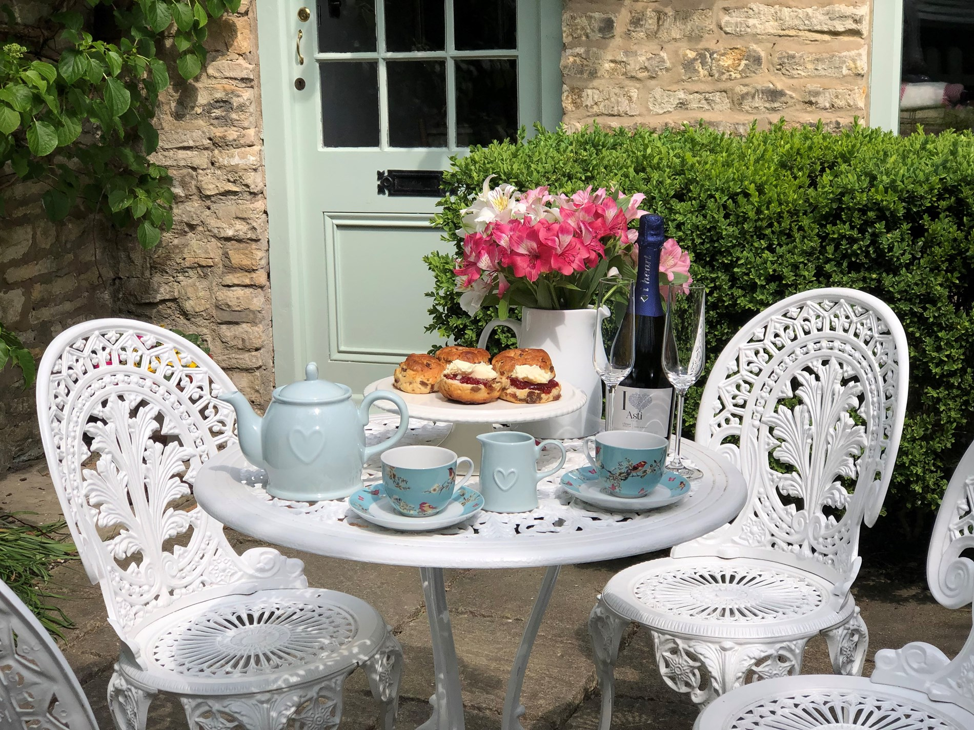 Enjoy some afternoon tea in the walled courtyard to the front of the property