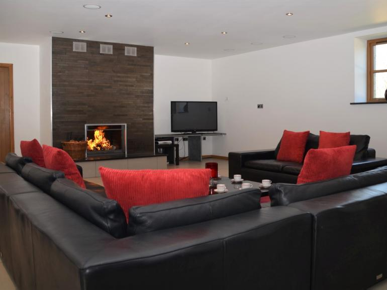 Comfy leather sofas create a modern contemporary feel