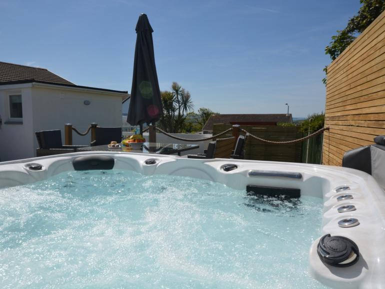 After a busy day relax in the hot tub