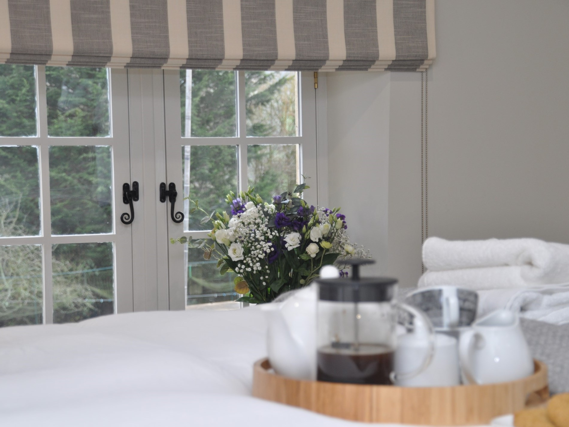Breakfast in bed with countryside views