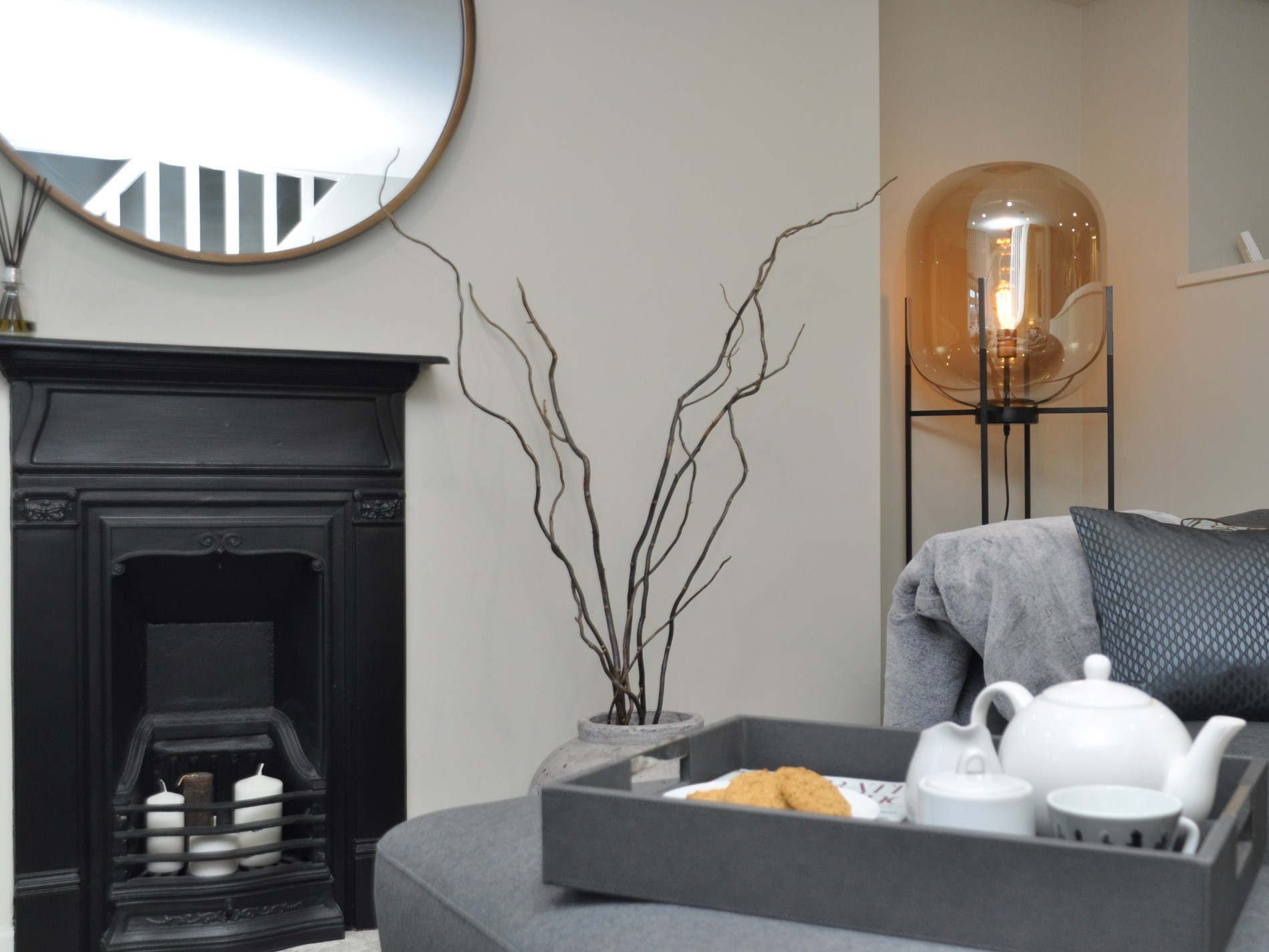 The cottage has a clever mix of contemporary lighting and original features