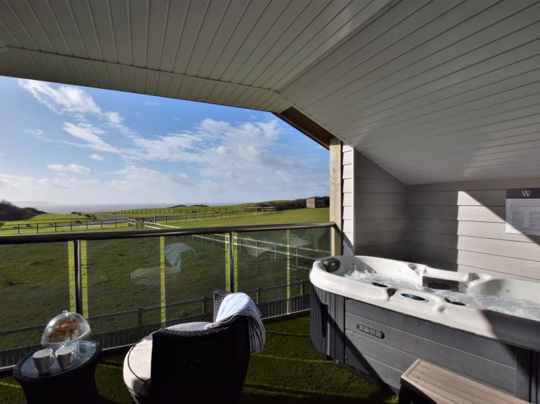 Stunning sea views from your own private balcony with hot tub
