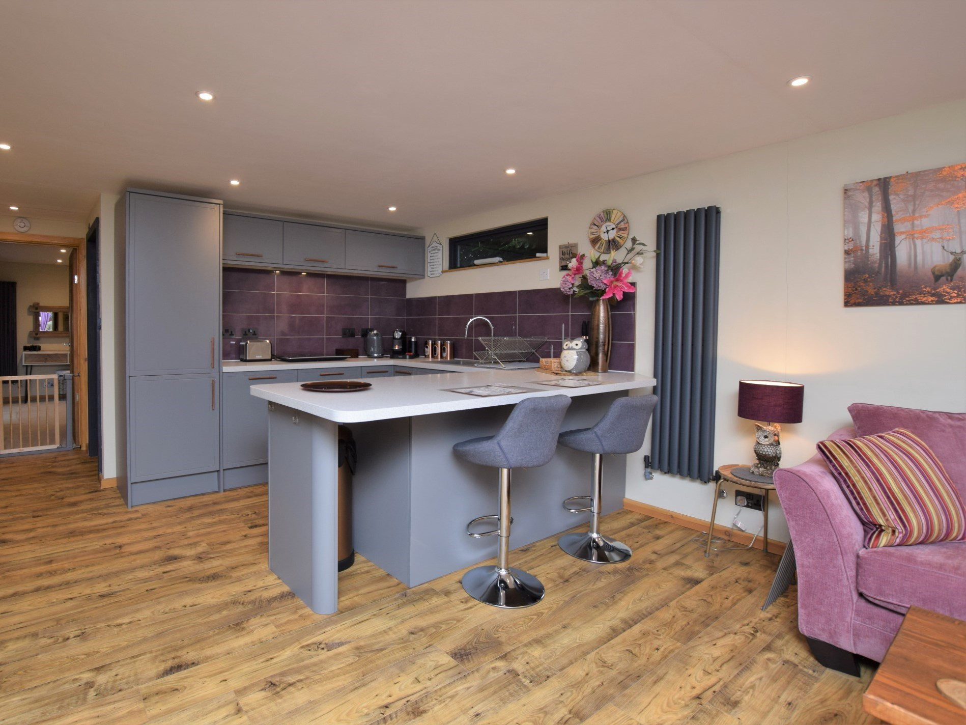 View across the open plan living space