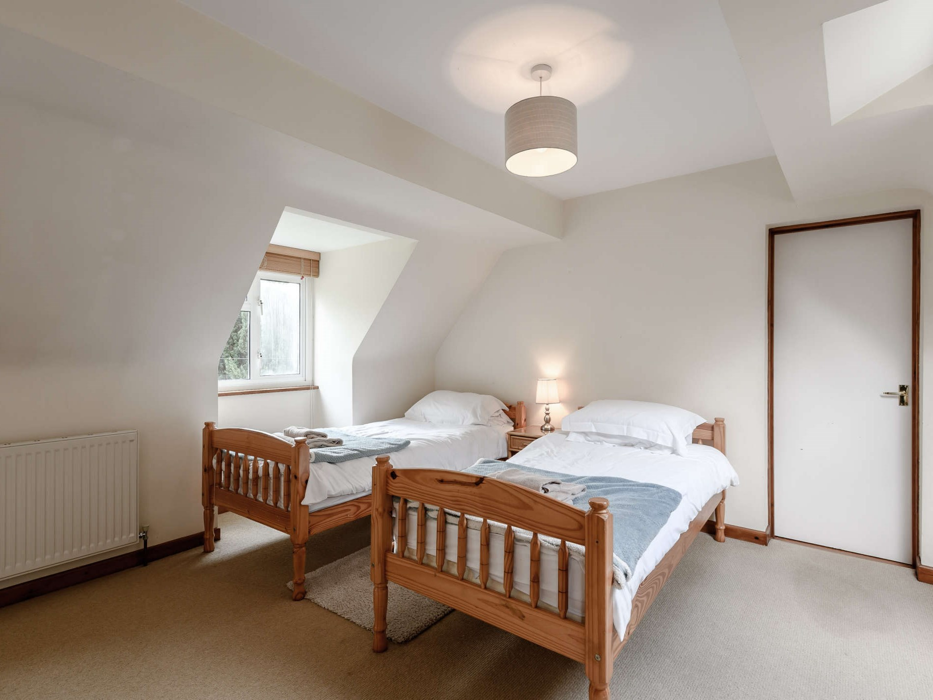 Double and two single beds