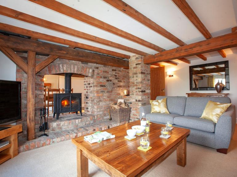 Plenty of character in the cosy lounge with exposed brickwork and beams