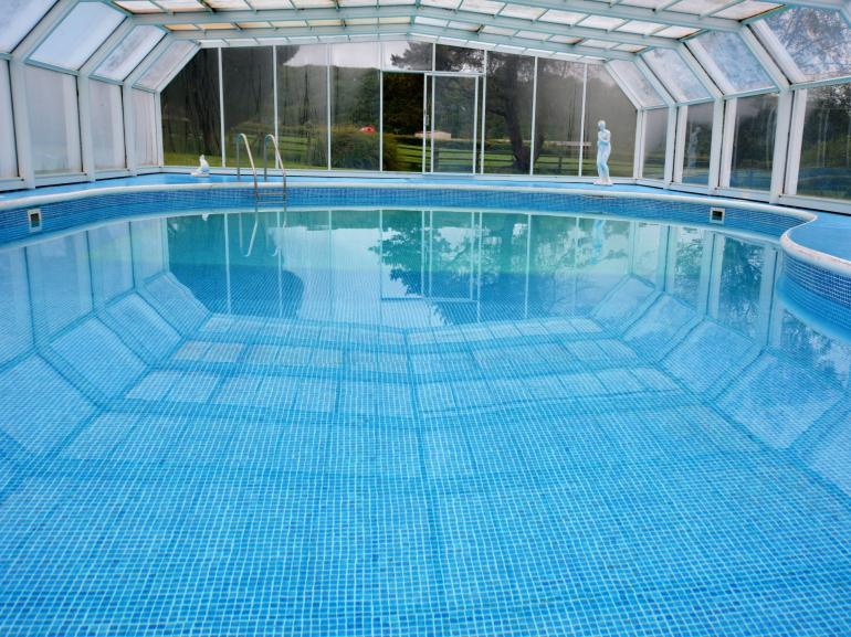 Cool down in the covered swimming pool