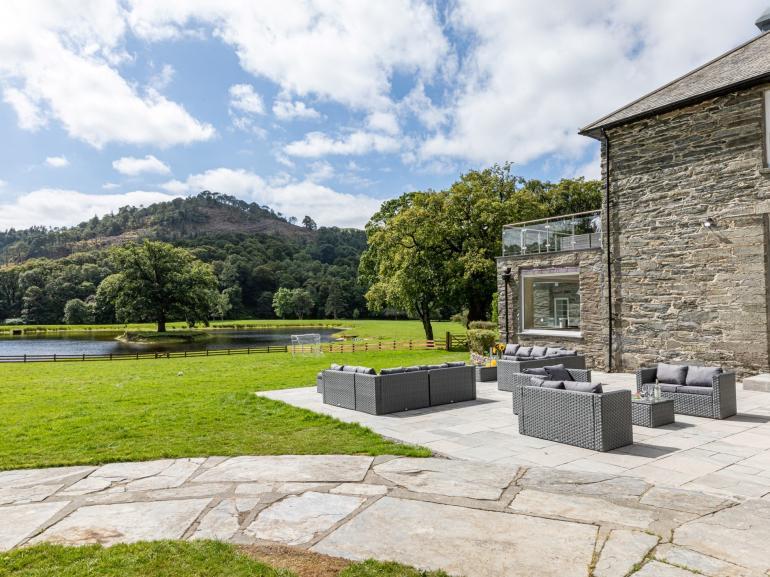 Let the kids run around and play football whilst you enjoy the views from the garden