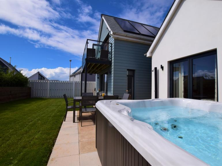 The perfect retreat, complete with hot tub