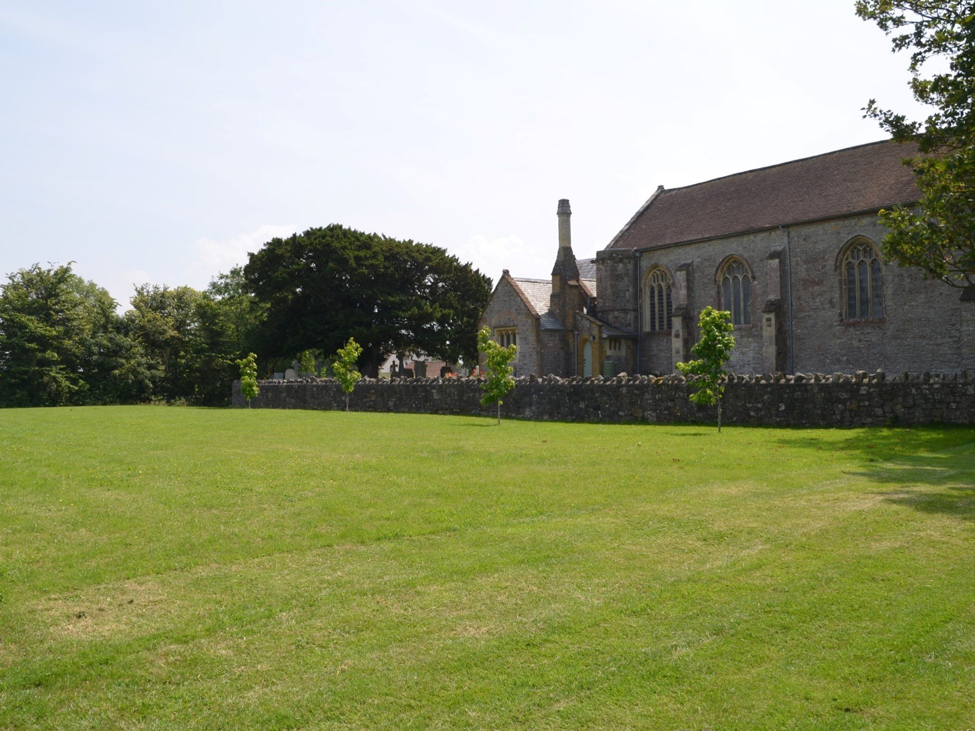 The paddock looks towards the village church