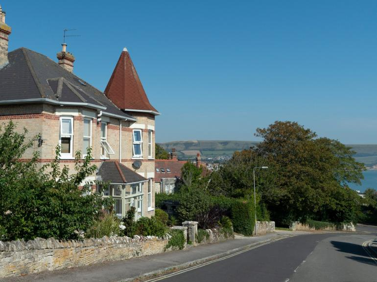 Side view of apartment towards Swanage bay