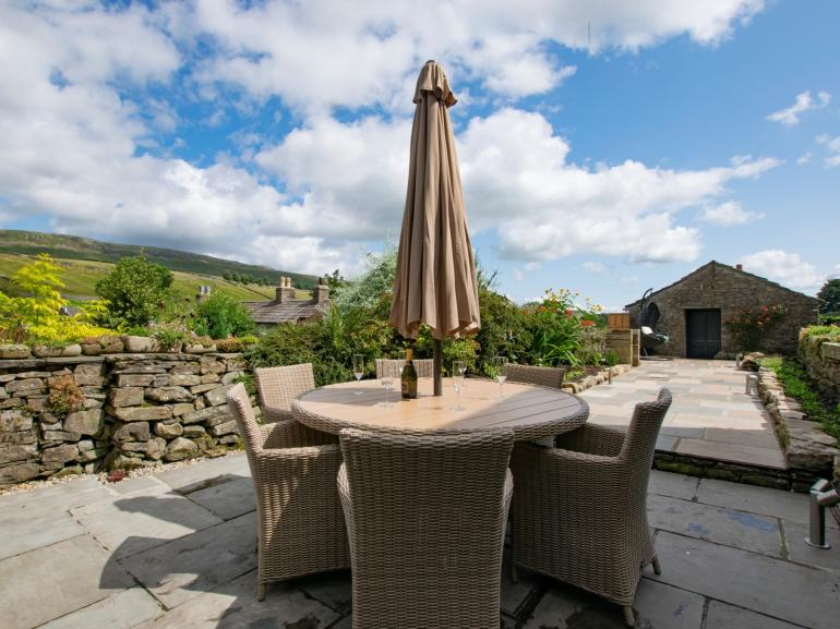 Beautiful enclosed garden with views of the Yorkshire Dales