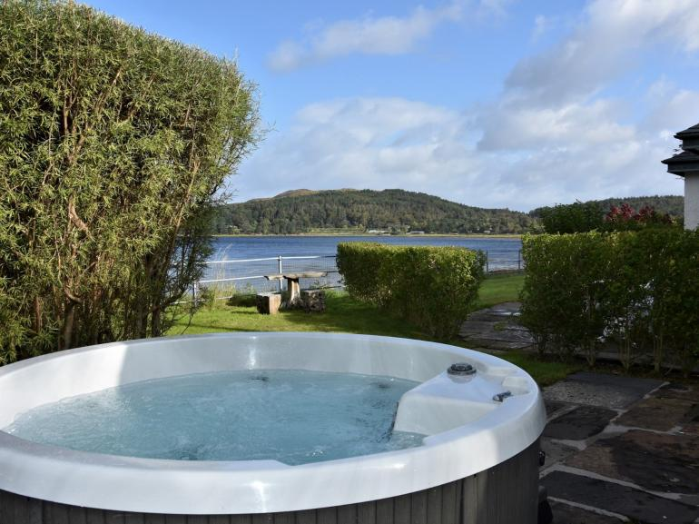 Relax in the hot tub and enjoy the views after a long day