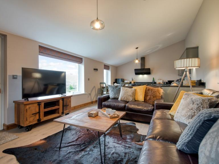 Cosy social space with amazing views across the valley