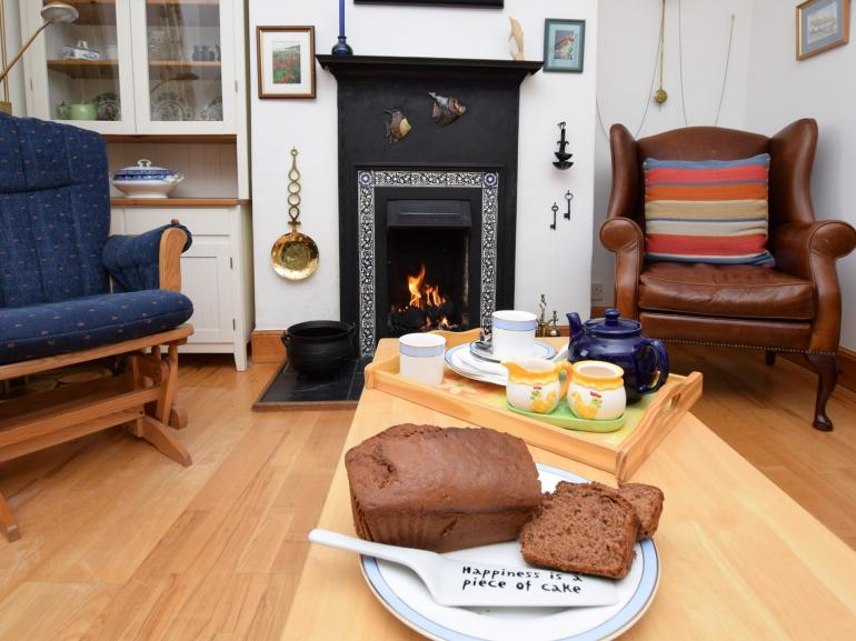 Afternoon tea by the cosy open fire
